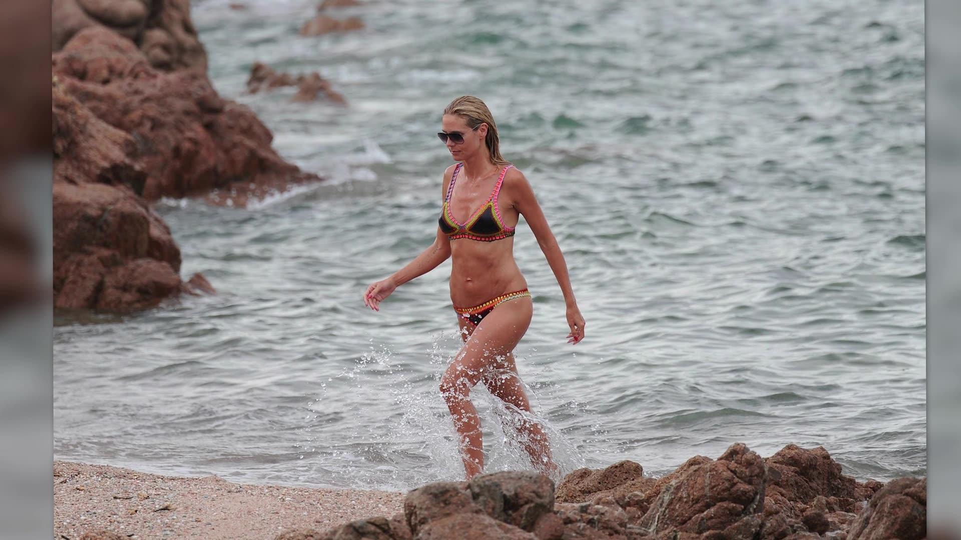Bikini-Clad Heidi Klum Shows Off PDA on Secluded Italian Beach