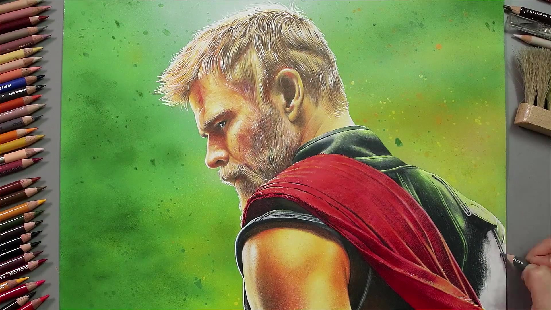 Drawing Hands Episode 59: Speed Drawing Chris Hemsworth of 'Thor Ragnarok'